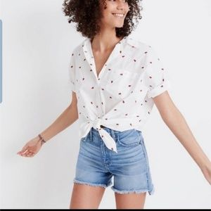 Madewell Tops - Madewell Strawberry Tie Front Shirt